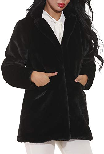 (Women Faux Fur Coat Jackets Outerwear Long Sleeve with Pockets Winter Soft Thick)