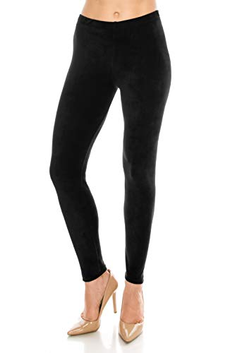 ALWAYS Women Stretch Velvet Leggings - Premium Soft Velour Warm Winter Solid Basic Pants Black ()