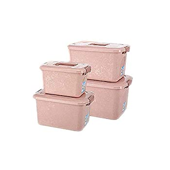Image of Allenrous Storage Boxes Set of 4, Plastic Storage Bins Baskets with Lids and Handles Container Clothes Blanket for Books Toys DVDs Art and Craft Washing Laundry Organization (Color : Pink(2)) Home and Kitchen