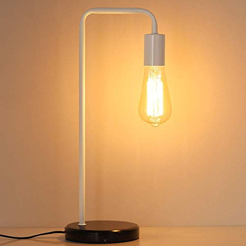 Industrial Desk Lamp, Edison Table Lamp for Nightstand, Black Marble Bedside Lamp for Living Room, Dressers, Coffee Table, Dorm Room, Office, White ()