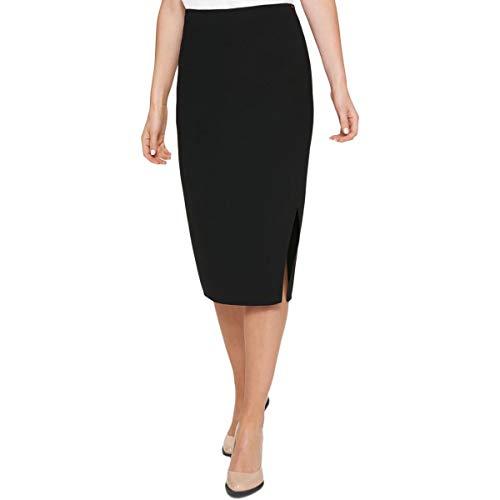 (DKNY Womens Crossover Front Midi Pencil Skirt Navy)