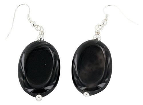 Native-Bay Authentic Made by Charlene Little Navajo Silver Hooks Dangle Natural Black Onyx American Earrings