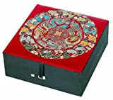"Beautiful Mother's Day Gift Wife Mother Mom - 5"" Red Silk Good Fortune Jewelry Box w/ Luck Symbol"