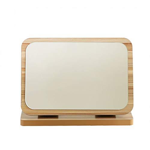 (SXHDMY-Makeup mirror Wooden Cross Section Dark Folding Desktop Vanity Mirror Student Desktop HD Mirror Multi-Size (Size : S))