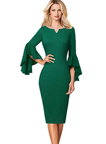 VFSHOW Womens Elegant Bell Sleeve Work Business Cocktail Party Sheath Dress 1701 GRN L