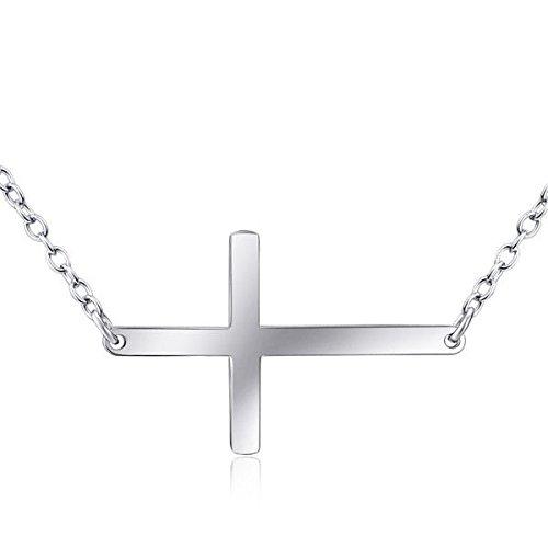 Ddang - 925 Sterling Silver Polish Plain Horizontal Sideways Cross Necklace Pendant 18