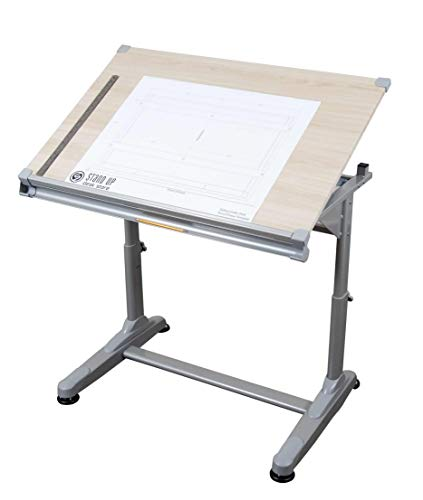 "Stand Up Desk Store Height Adjustable Drawing and Drafting Table with 39.2"" W x 27.5"" D Surface, Silver Frame with Birch Top"