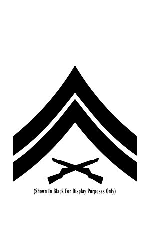 United States Marine Corps (USMC) Chevron Rank Insignia Vinyl Decal Sticker, Premium Matte & Glossy Vinyl, Many Colors To Choose From - CUSTOMIZE NOW, E-4 Corporal CPL, W 2