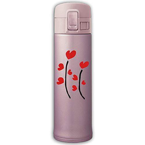 Cc Coll Heart Plants Vector 500Ml 10 Ounce Stainless Steel Thermos Stainless Steel Mug Travel Thermos Mug Pink