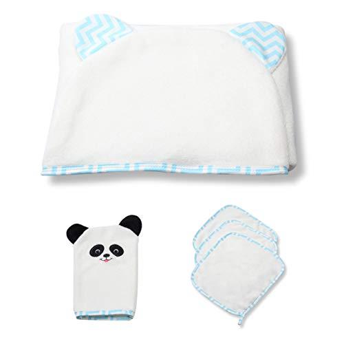 100% Bamboo Fiber Organic Soft Hooded Baby Towel, 3 Washcloth & 1 Wash Mitt Set for Baby Girls & Boys | Hypoallergenic and Vegan Baby Bath Kit for Newborns | Anti-Bacteria, Anti-Mold, Anti-Odor (Blue)
