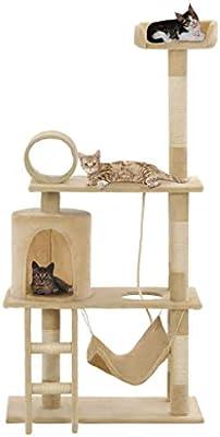 UnfadeMemory Árbol para Gatos,Rascador para Gatos con 1 Hamaca,1 Escalera,1 Cuerda para Escalar,1 Casa,Plataformas y Áreas de Descanso,Postes Rascadores de Sisal 140cm (Beige): Amazon.es: Hogar
