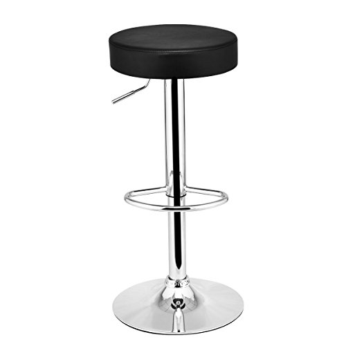 - COSTWAY Swivel Bar Stool Round PU Leather Height Adjustable Chair Pub Stool w/Chrome Footrest (Black, 1 pc)