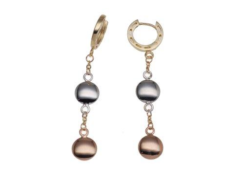 Boucles d'oreille Femme - E-10154 - Or (9 cts) Tricolore 2.5 Gr