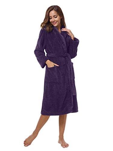 - SIORO Fleece Bathrobe Women's Long Plush Robe Ladies Soft Shawl Collar Sleepwear Girls Warm Loungewear With Pockets Water Absorbent Pajamas Dressing Gown Solid Eggplant M