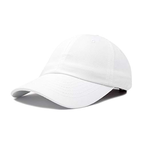 Dalix Unisex Unstructured Cotton Cap Adjustable Plain Hat, White]()