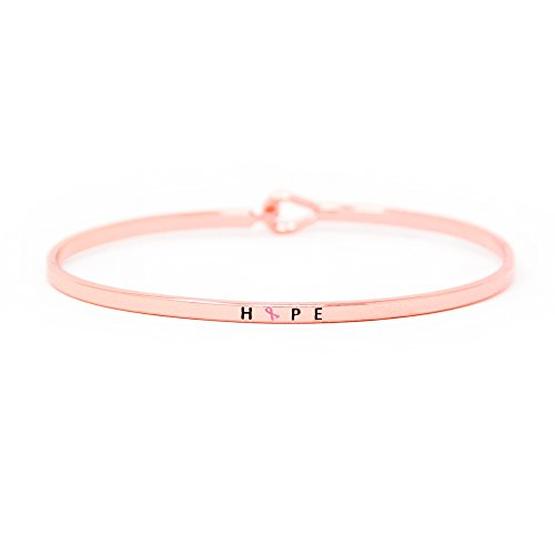 Me Plus Pink Ribbon Breast Cancer Awareness Inspirational Positive Message Thin Bangle Hook Bracelet (6 Diff Phrases) (HOPE - ROSE GOLD)