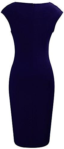 HOMEYEE B365 cou mince Femmes Robe manches sans de V twill lgante Bleu longueur Fonc Split jambe E00wq