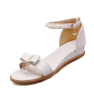 LvYuan Tacón Plano-Confort Suelas con luz-Sandalias-Exterior Vestido Informal-PU-Rosa Morado Blanco White