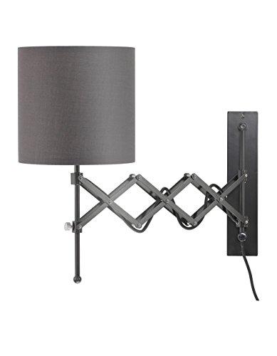 ce LED Wall Light Modern Plug in Bedroom Lamp Dark Grey ()
