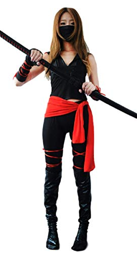EMONJAY Ninja Costume Suit [ L Size for Women with Leather Socks] Party Halloween Cosplay (Large) -