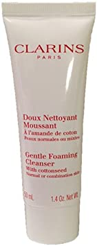 Clarins Gentle Foaming Cleanser with Cottonseed Normal To Combination Skin Travel Size Tube – 1.4 Ounces