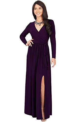 KOH KOH Plus Size Womens Long Sleeve Sleeves V-Neck Slit Split Cocktail Evening Elegant Wrap Winter Fall Wedding Guest Abaya Muslim Gown Gowns Maxi Dress Dresses, Purple 4XL 26-28 (Purple Sleeve Long Gown)