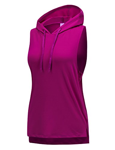 REGNA X NO BOTHER Women's Boat Neck jersey traning sports active Hooded Tank Top,17503_purple,XXX-Large - Hooded Tank Top