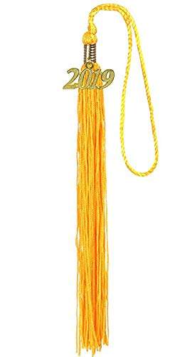 WJBB 2 Pieces Graduation Tassel with Year 2019 Gold Charm, Gold ()