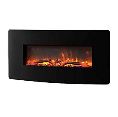 "Urbana Muskoka 35"" Curved Wall Mount Electric Fireplace w/ LED Flame Effect"