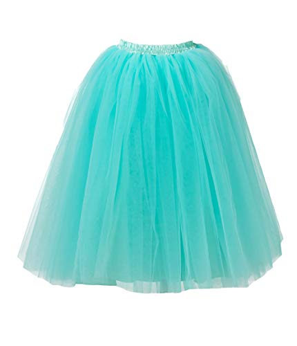 Honeystore Women's Long Ballet Multi-Layer Ruffle Frilly Petticoat Tutu Skirt Mint XXL