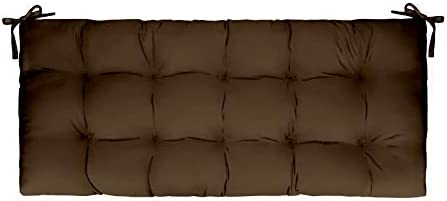 Resort Spa Home Decor Solid Chocolate Brown Indoor Outdoor Tufted Cushion for Bench, Swing, Glider – Choose Size 60 x 18