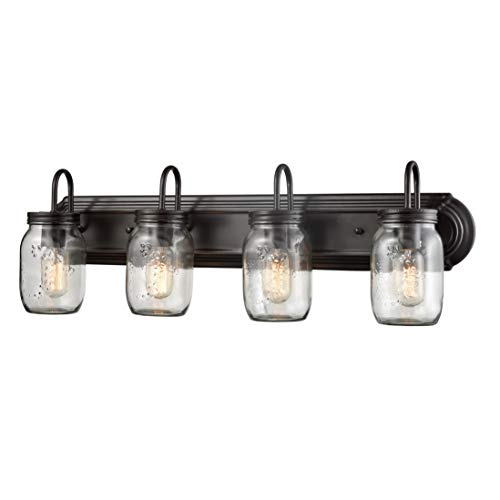 EUL Vintage Clear Glass Jar Wall Sconces 4-Light Bathroom Vanity Lighting Fixture Oil Rubbed Bronze Wall Lights