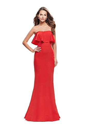 (La Femme 25419 Strapless Fitted Ruffled Mermaid Gown in Poppy Red)