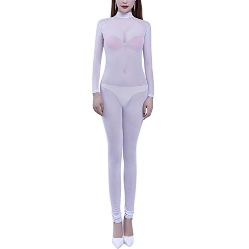 OBEEII Women Sexy Transparent Jumpsuit Lingerie Long Sleeve Backless Bodysuit Nightwear See Through Catsuit Costume Black