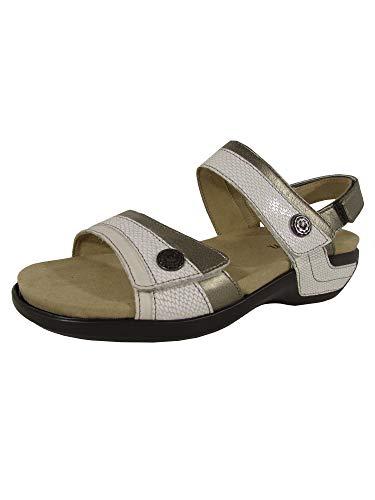 Aravon Women's Katherine-AR Flat Sandal,White/Multi,5 D US