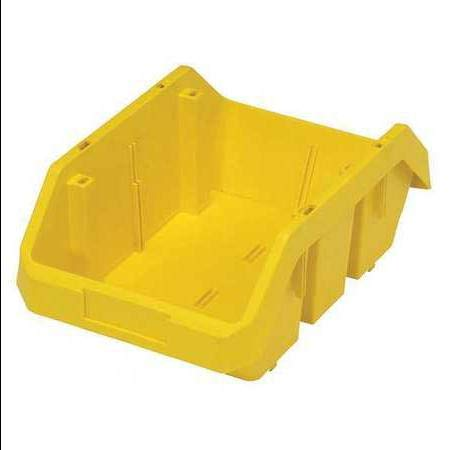 Conductive Stacking Bins - 75 Lb Capacity, Cross-Stacking Bin, Double Hopper, Yellow
