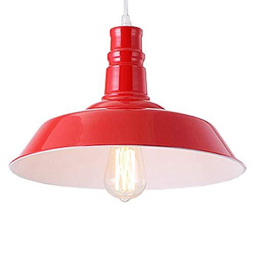 Red Barn Restaurant - BAYCHEER HL416375 Industrial Retro style Wrought Iron Large Pendant Light Lamp Modern Chandelier 1 Light for Barn Warehouse restaurant, Red