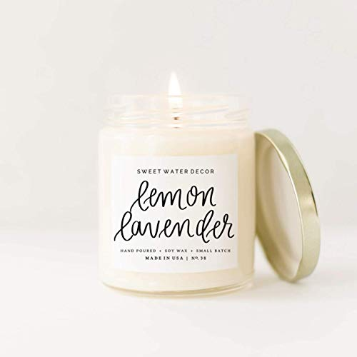 Lemon Lavender Natural Soy Wax Candle Summer Eucalyptus Neroli Scent Spa Candle Modern Home Decor Bathroom Accessories Relaxation Candle Bathroom Accessory Made in USA Lead Free Cotton Wick Relax Gift