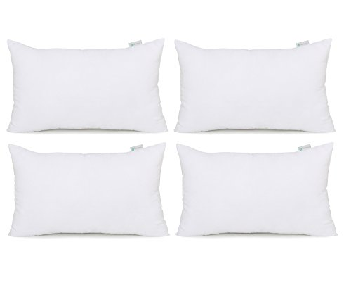Acanva Hypoallergenic Pillow Insert Form Cushion, Square,Pack of 4