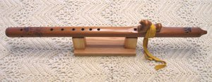 One-of-a-kind Key of a 6-hole Western Native American Style Cedar Flute with Hand Scrolled Design By Scott Loomis.