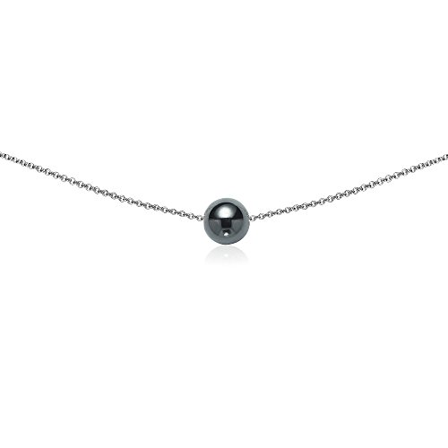 Sterling Silver Simulated Hematite 8mm Bead Ball Dainty Choker Necklace