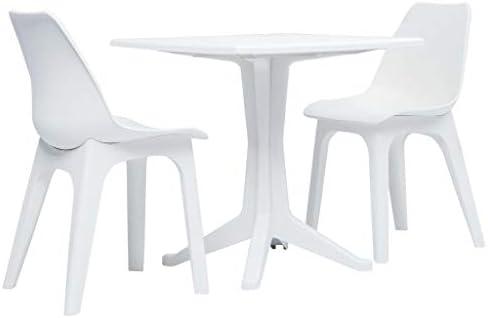 Tidyard Juego de Mesa y Sillas de Jardín Conjunto de Comedor Mesa y Sillas 3 Piezas Plástico Blanco 70 X 70 X 71,7 Cm: Amazon.es: Hogar