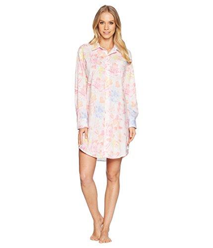 - LAUREN RALPH LAUREN Womens Long Sleeve Roll Tab His Shirt Sleepshirt (White/Floral, Medium)