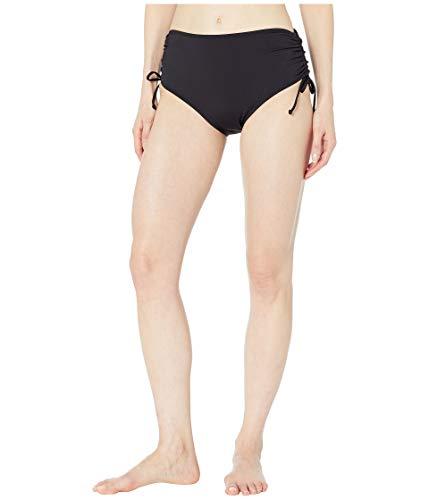 24th & Ocean Women's High Waist Side Tie Hipster Bikini Swimsuit Bottom, Black//Solid, Small
