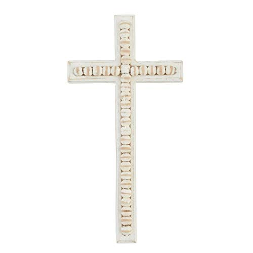 "Mud Pie Large Beaded Wood Cross 11"" x 5 1/2"""