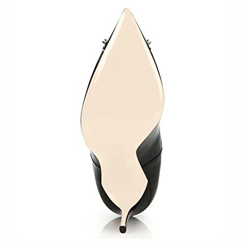 Mode Cheville NVXIE Printemps Talon Stiletto Femmes Chaussures Hiver Bottes Pointu BLACK Cuir Rivet EUR43UK9 Noir Automne 5wwqr1xY