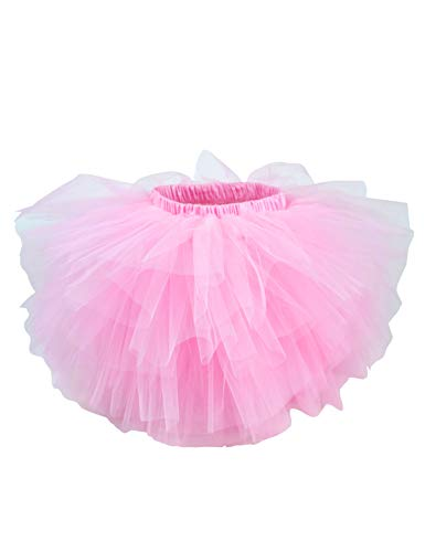 (Girl's 6 Layered Tutu Skirt Fluffy Tulle Ballet Princess Dancing Petticoat Ballerina Skirt Pink S)