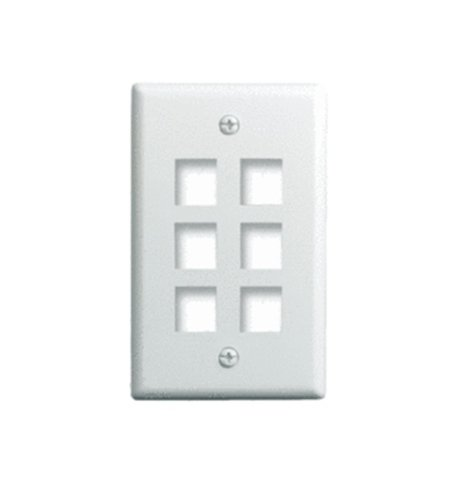 Gang Snap (On-Q Legrand WP3406-WH Single-Gang 6-Port Snap-In Wall-Plate, White)