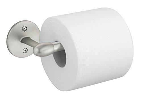mDesign Toilet Paper Holder for Bathroom - Wall Mount, Satin