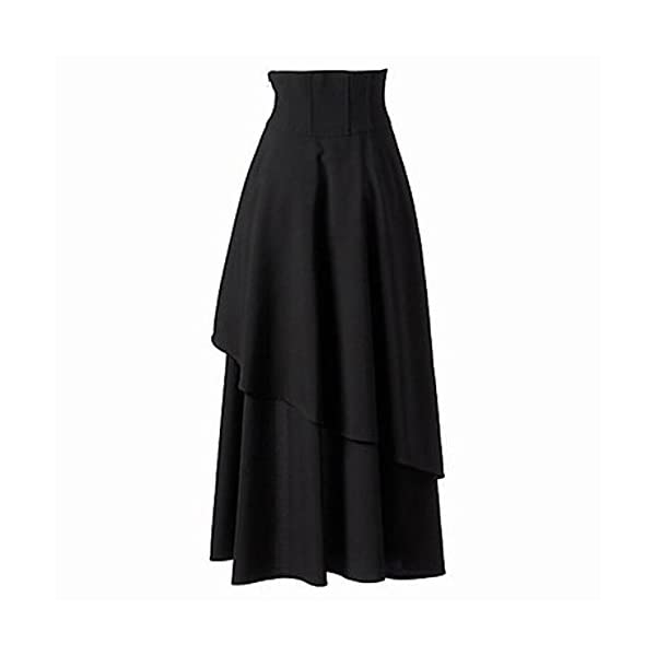 Betti Charm Women's Pure Black Gothic Lolita Band Waist Skirt 4